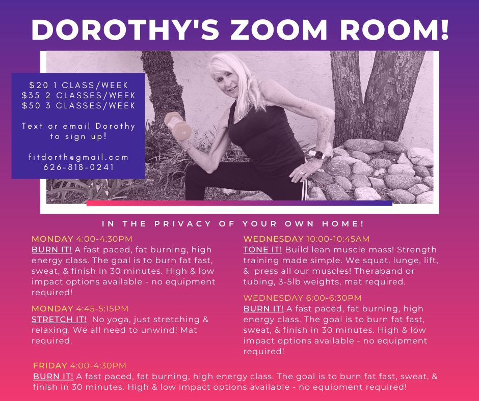 DOROTHY'S ZOOM ROOM SCHEDULE