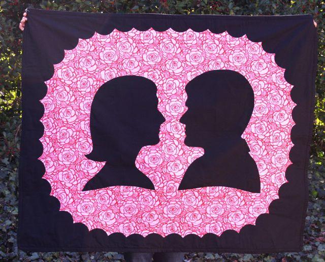 valentine silhouette quilt Whipstitch
