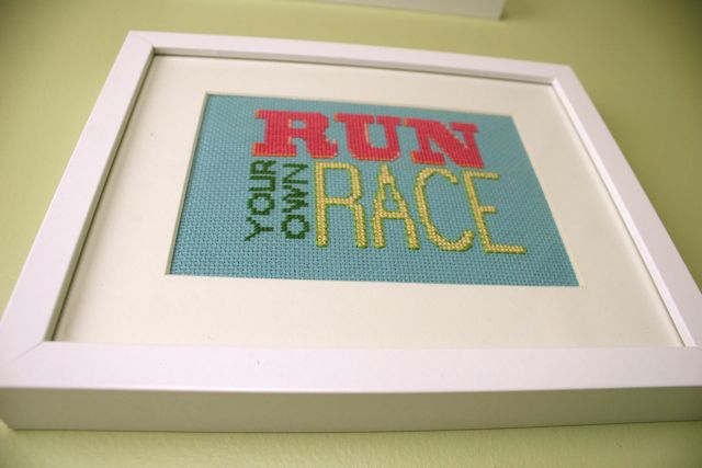 framed run your own race x stitch | whipstitch