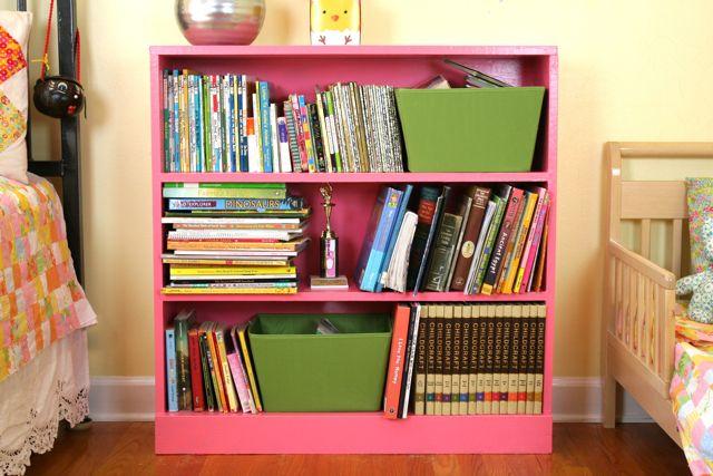 geranium pink bookcase   whipstitch