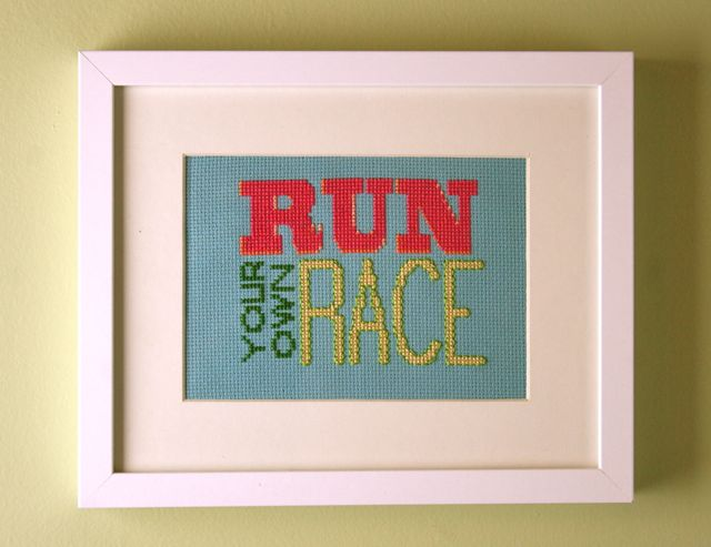 run your own race cross stitch | whipstitch