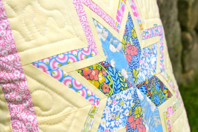 liberty stile pillow free motion quilting