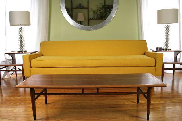 yellow mid century modern sofa