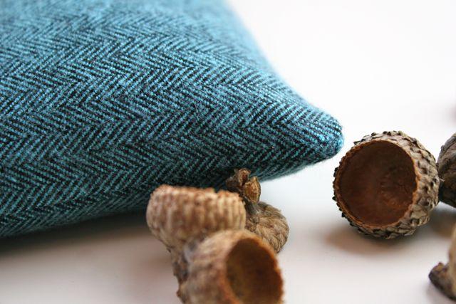 aqua herringbone flannel hand warmer