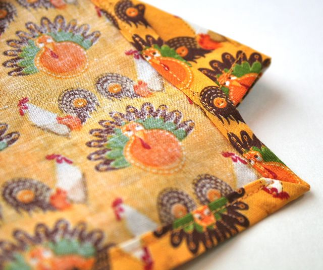 perfect mitered corners on handmade napkins