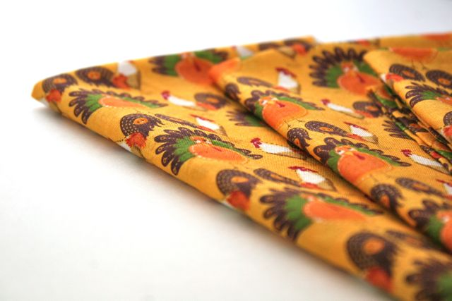 thanksgiving napkins with mitered corners