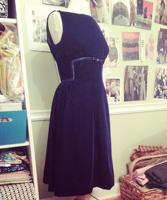 handsewn blue velvet cocktail dress