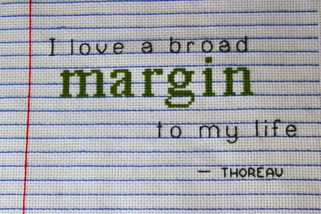 margin cross stitch thoreau quote