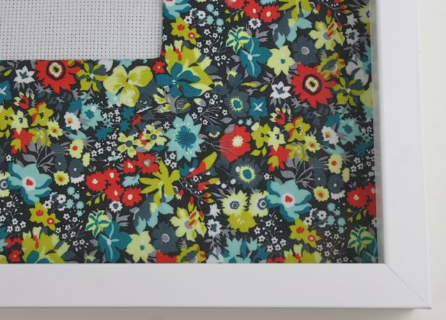 Liberty cotton on picture frame mat | Whipstitch