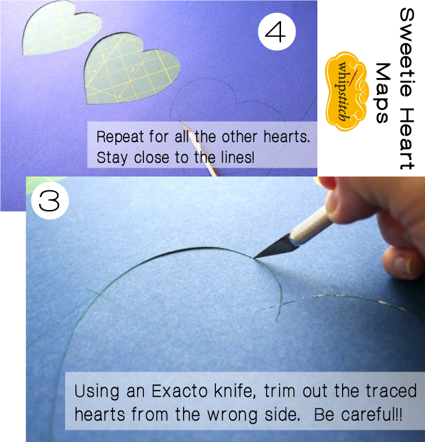 tutorial for how to make heart shaped map mats