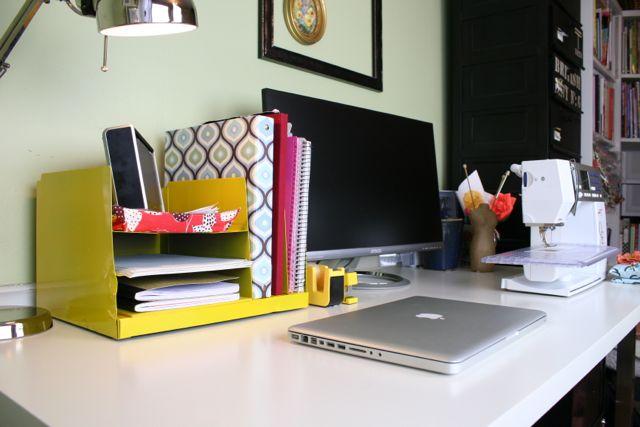 vintage yellow metal desk organizer