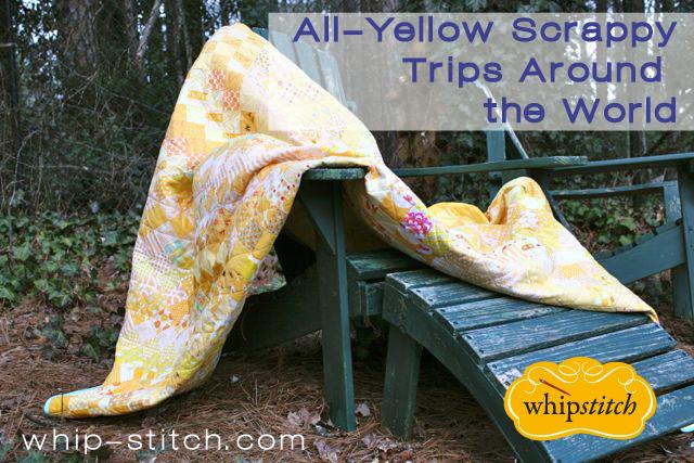 yellow scrappy quilt   whipstitch