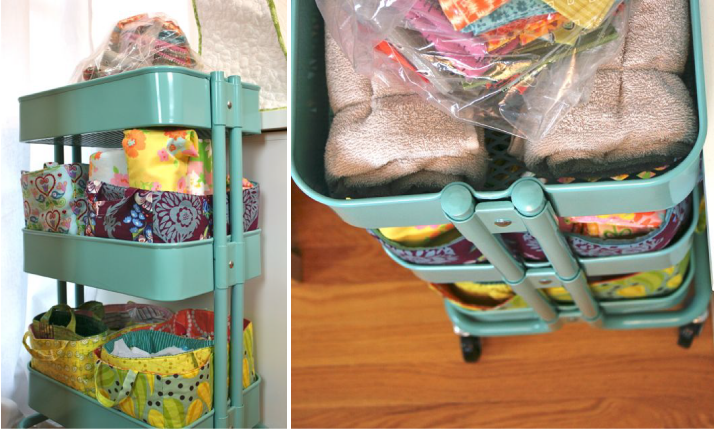 whipstitch studio raskog cart with fabric baskets