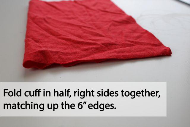 fold cuff to sew