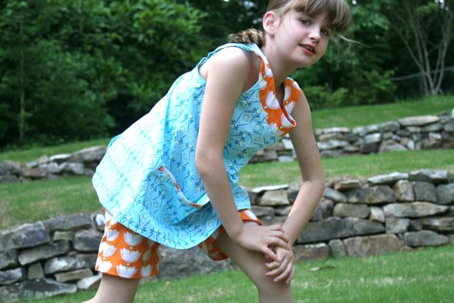 girls shorts and tunic lotus pond fabric