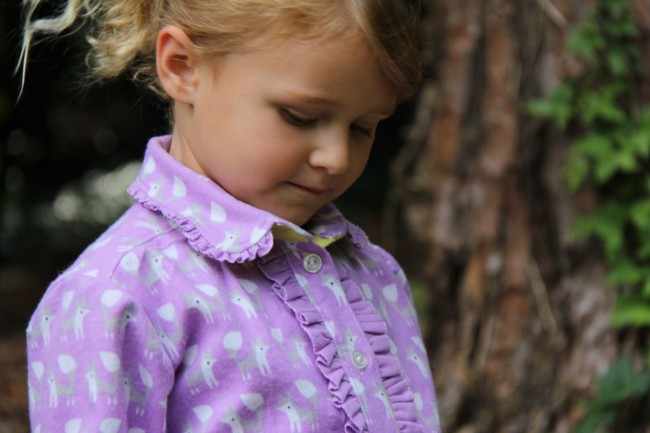 fanfare flannel shirt with ruffled peter pan collar