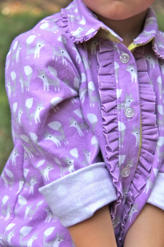ruffled front lilac foxes fanfare shirt