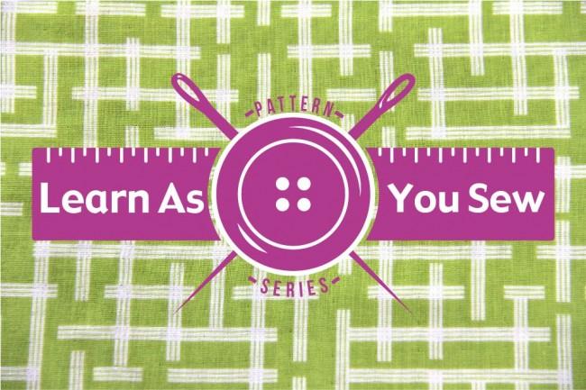 learn as you sew on green ellen baker background