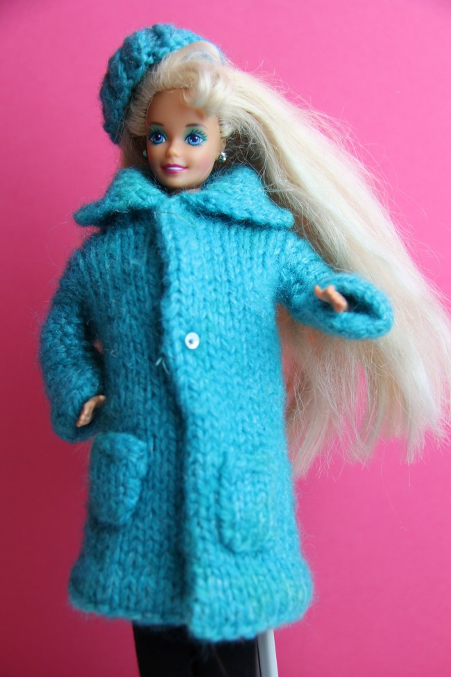 handknit barbie coat and hat