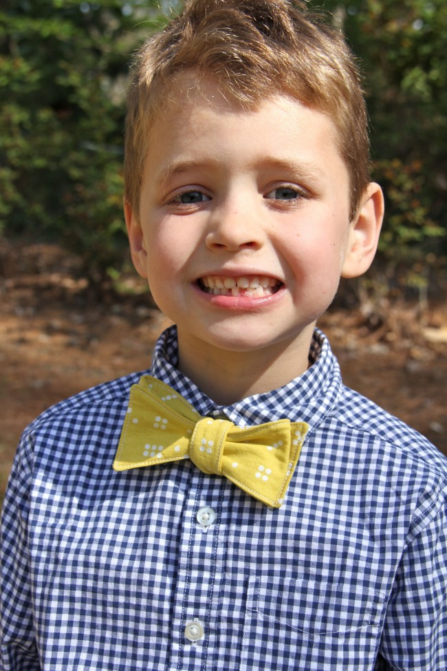 gingham and a handmade bow tie