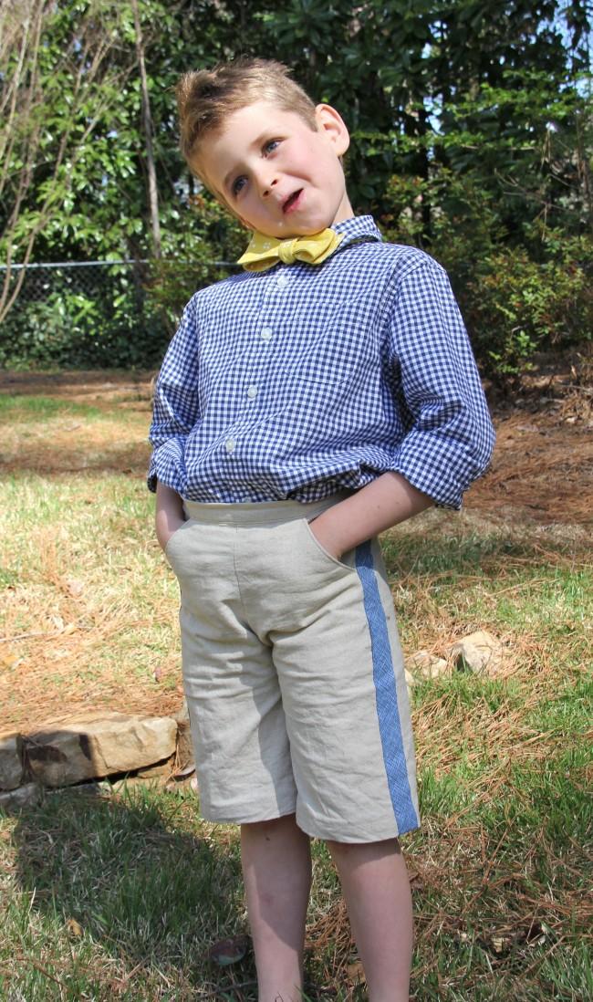 linen shorts with tuxedo stripe