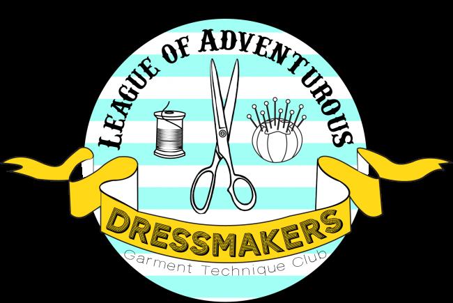 league of dressmakers logo stripes