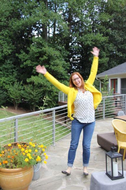 cardigan jumping joy