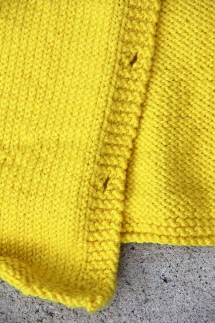 yellow cardigan garter stitch hem