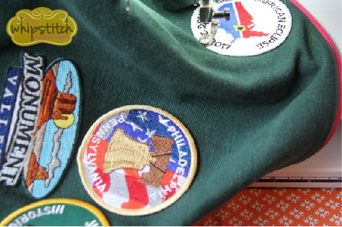 free arm to sew on patches   Whipstitch