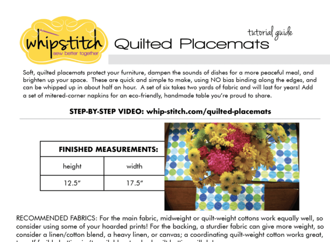 A printable guide with instructions for making a set of quilted placemats without binding