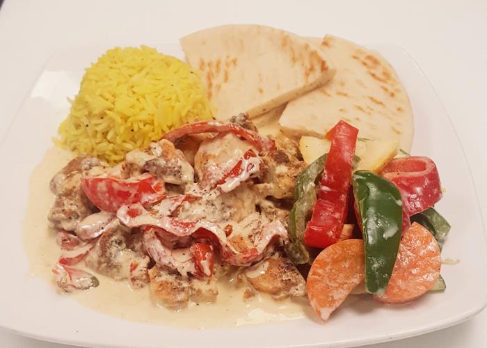Chicken bell pepper dinner plate