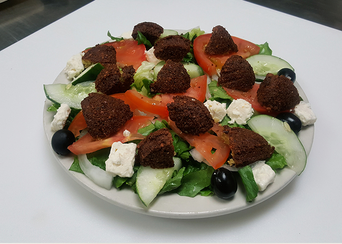 Large salad with falafel