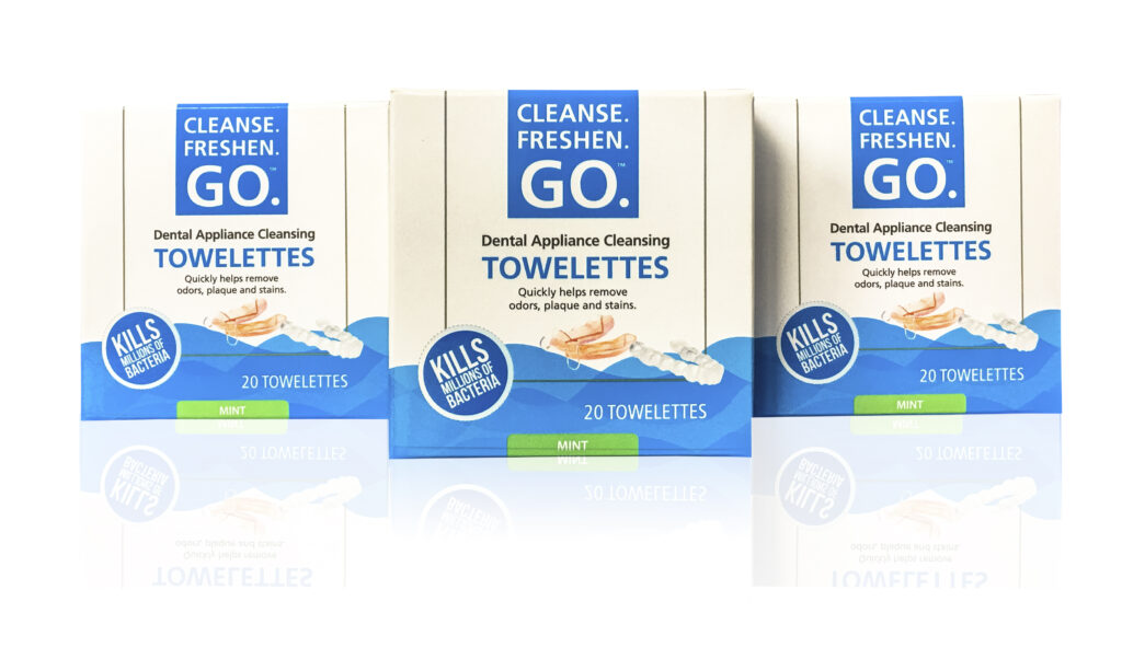 Cleanse.Freshen.Go.™ Towelettes are unique, unparalleled cleaning solutions for removable dental appliances. Convenient, easy-to- use and quick, these portable anti-bacterial solutions deliver effective cleaning results, even while on the go.
