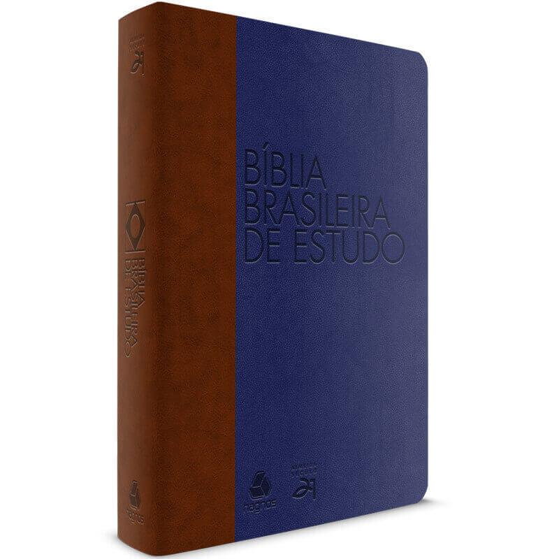 Bíblia brasileira de estudo marrom azul
