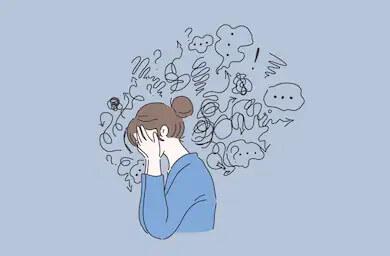Ilustração em fundo azul mostra mulher com vários ícones de preocupação sobre a cabeça