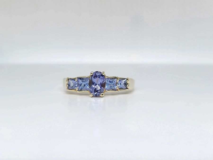 CUSTOM YELLOW GOLD GENUINE TANZANITE FASHION ESTATE RING!