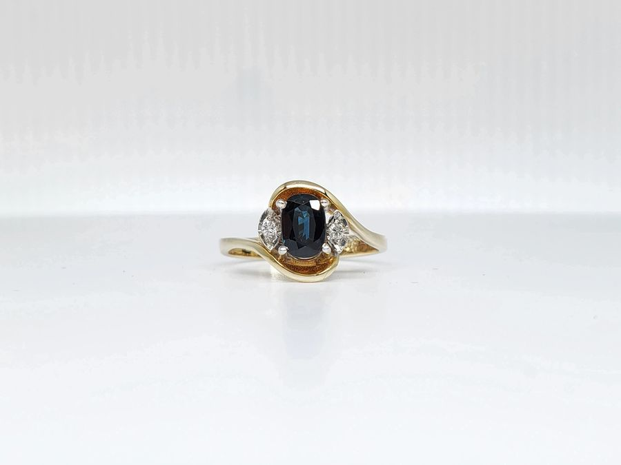 14K TWO-TONE GOLD BLUE SAPPHIRE & DIAMOND ESTATE RING!!