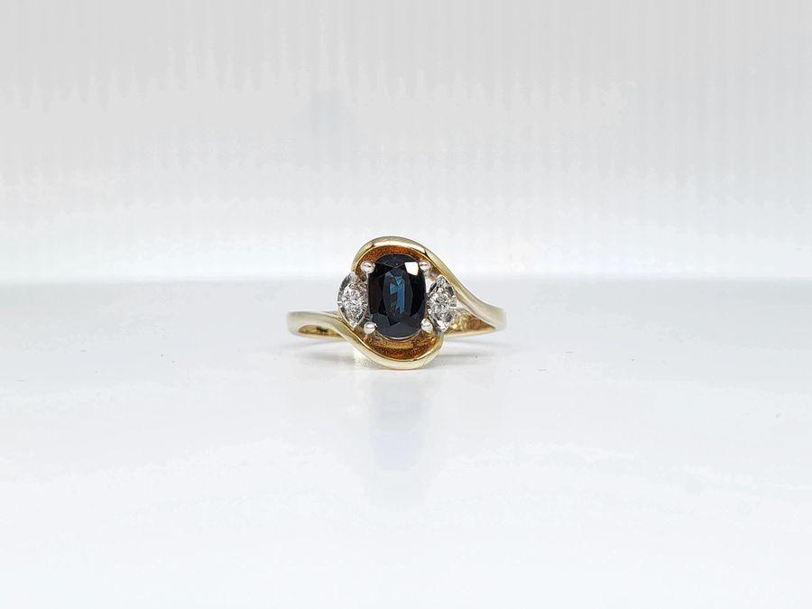 14K TWO-TONE GOLD BLUE SAPPHIRE & DIAMOND ESTATE RING!!