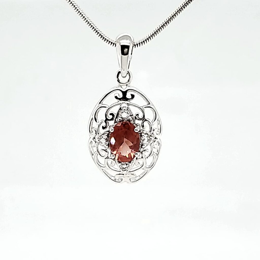 Antique Filigree Oval Oregon Sunstone Necklace (1)