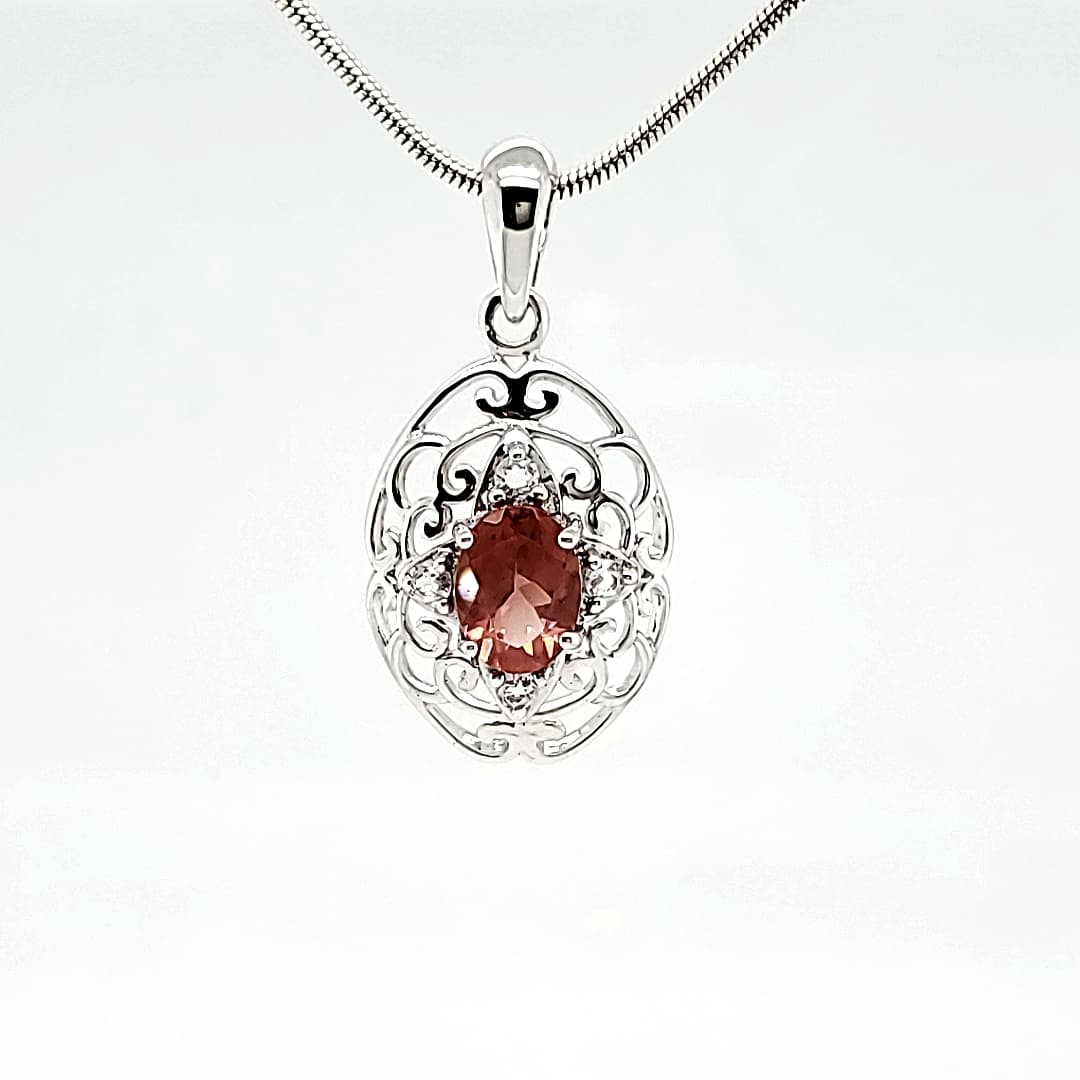 Antique Filigree Oval Oregon Sunstone Necklace (1)