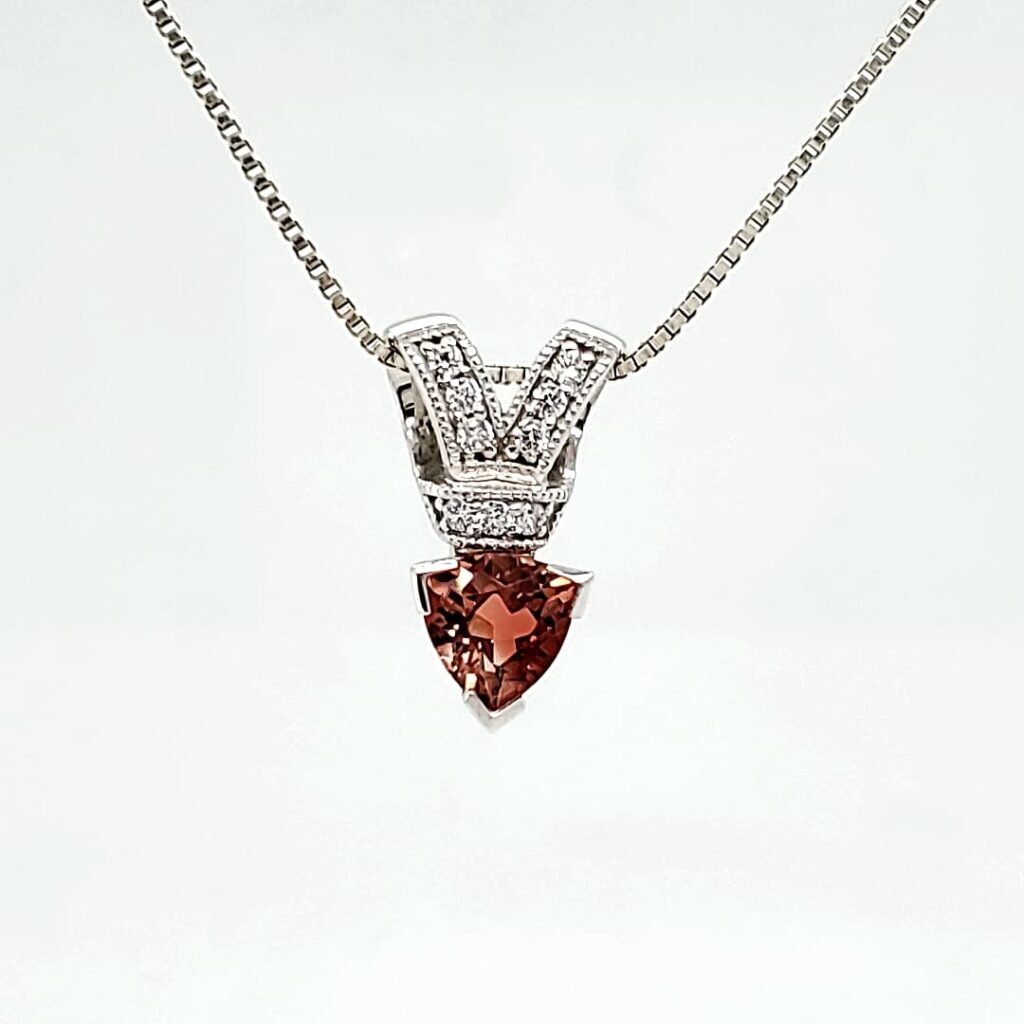 Bow Tie Trillion Sunstone & Cz Fashion Pendant (1)