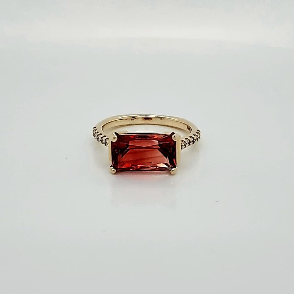 Custom Diamond Accented Red Sunstone Ring (1)