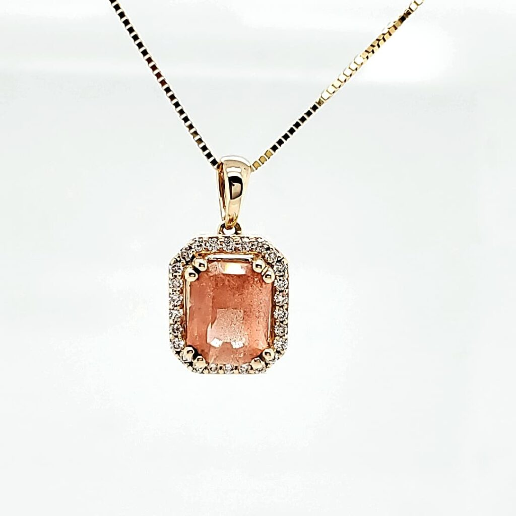 Diamond Halo Emerald Shape Sunstone Pendant (1)