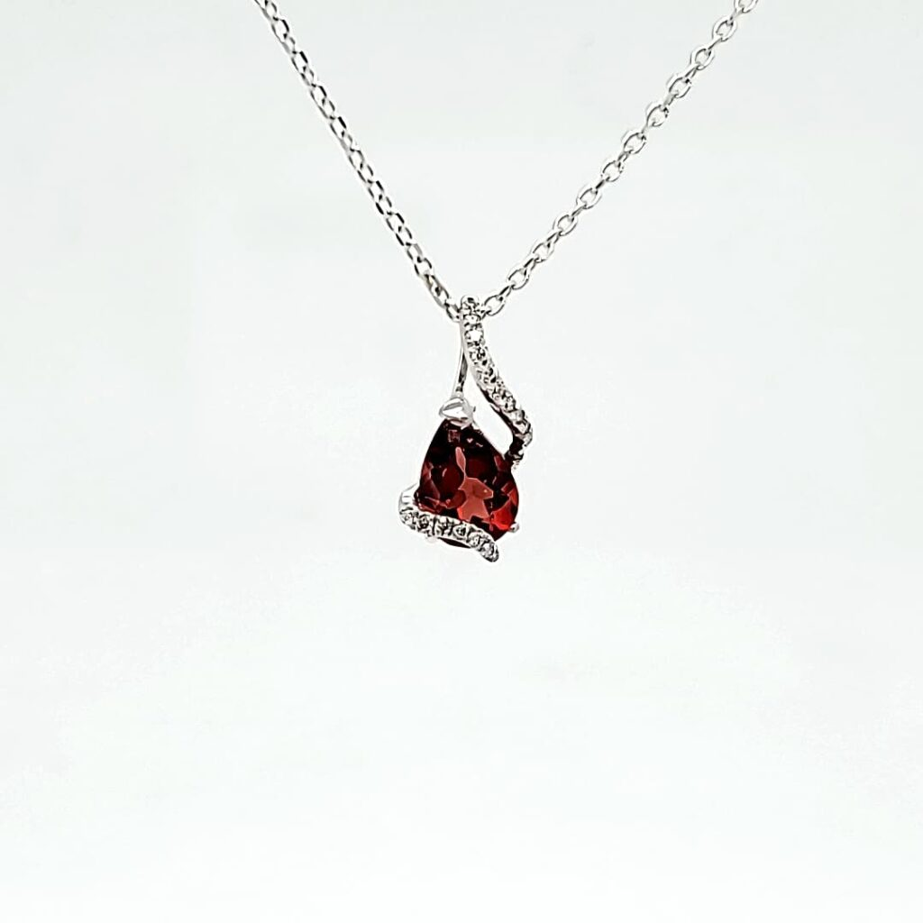Diamond & Red Oregon Sunstone Necklace (1)