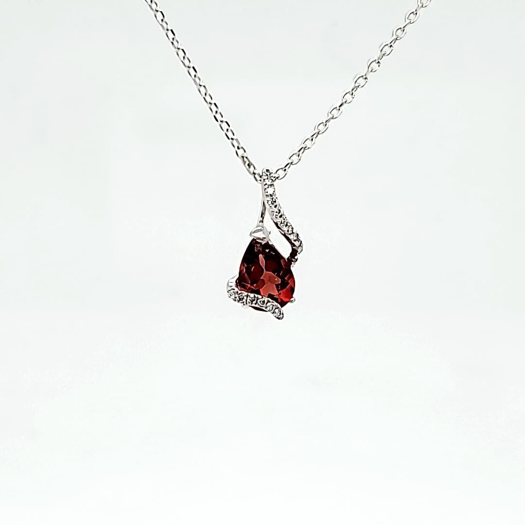 Diamond & Red Oregon Sunstone Necklace (1)