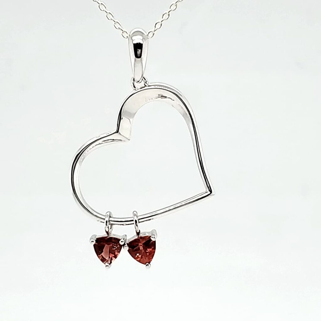 Double Heart Trillion Sunstone Pendant (1)