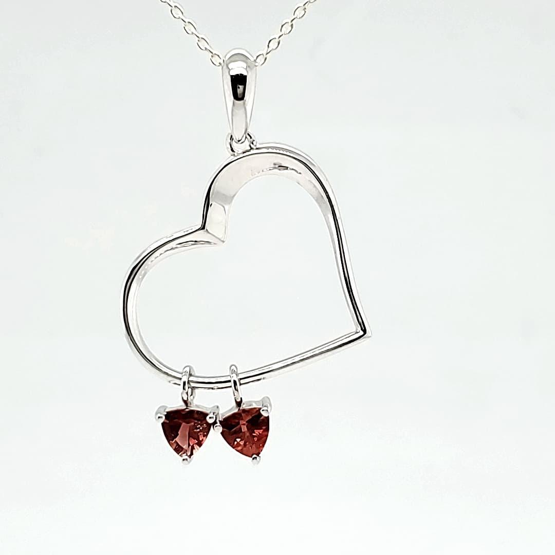 Double Heart Trillion Sunstone Pendant (1)