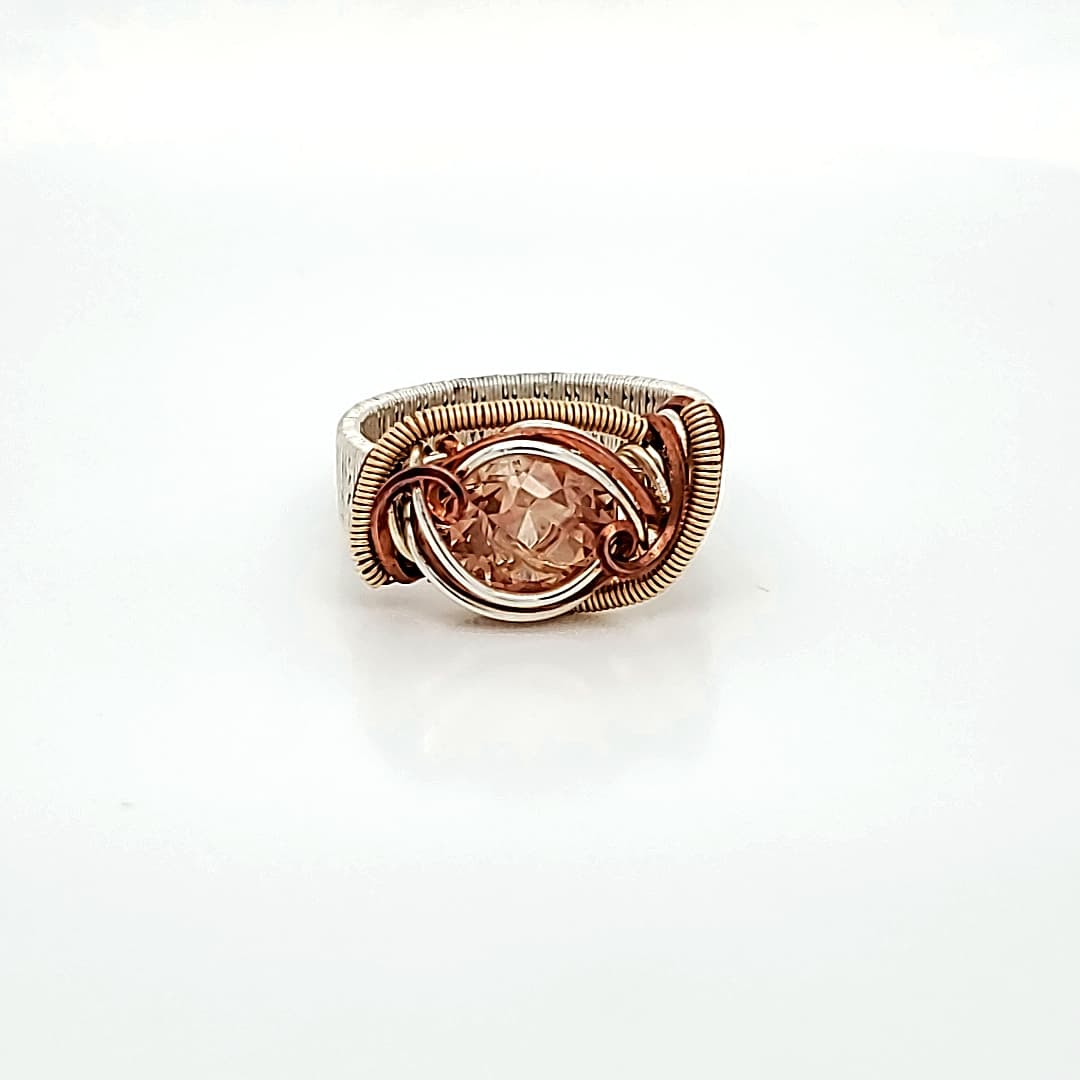 Fancy Wire-Wrapped Sunstone Fashion Ring (1)