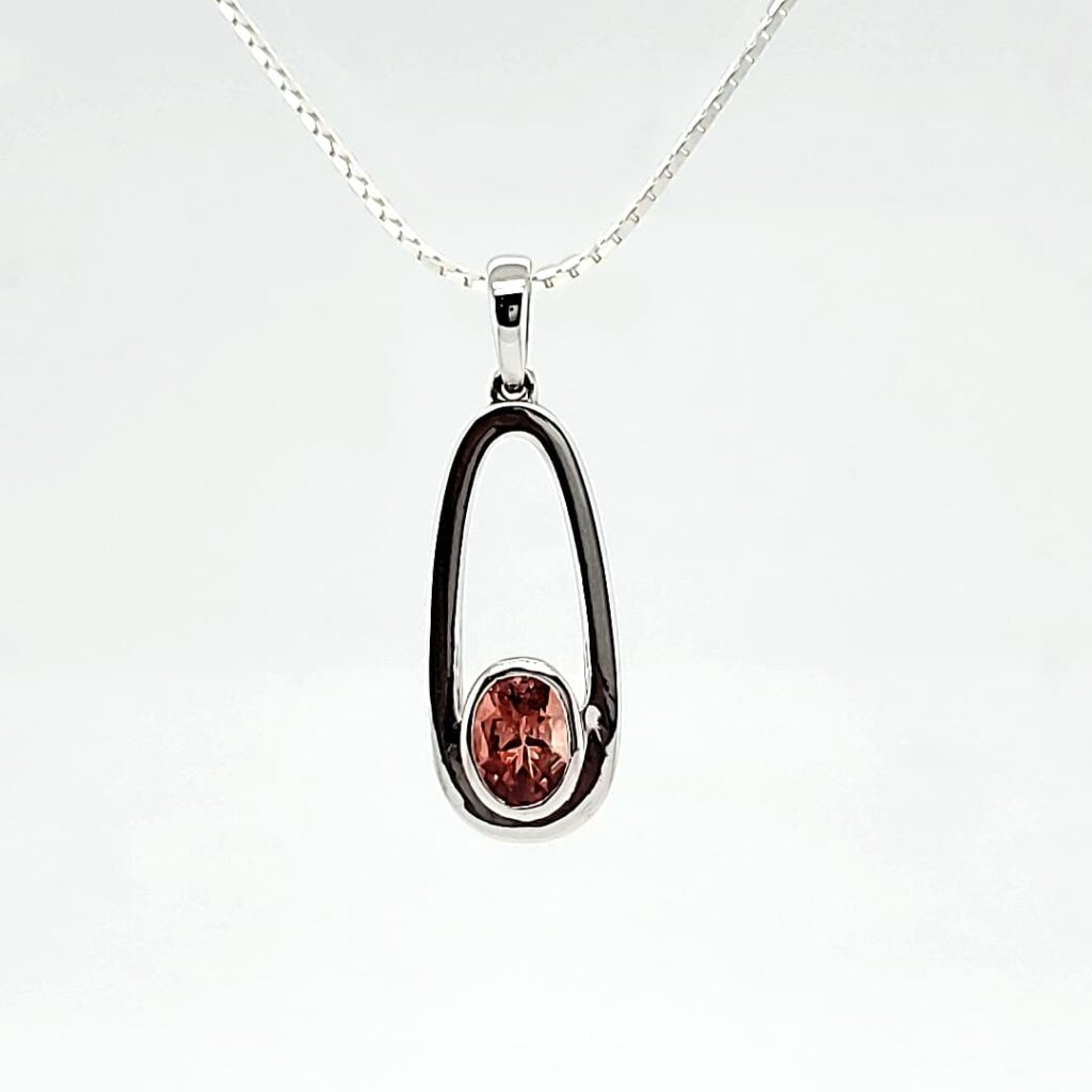 Oval Drop Solitaire Sunstone Pendant (1)