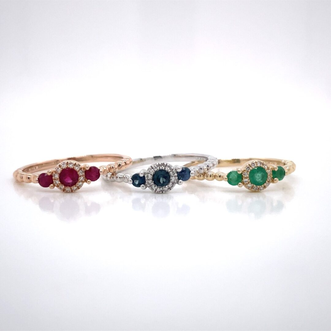 14K ROSE GOLD BEADED 3 STONE HALO RUBY AND DIAMOND RING